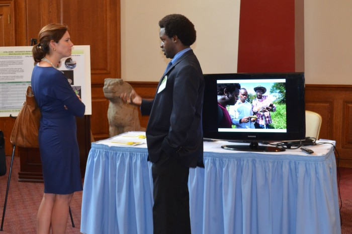 Mark Musumba, a post-doctoral research fellow with the AgCenter, presents Vital Signs, an integrated monitoring system for ecosystems services in agricultural landscapes.